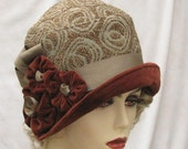 Womens Fashion Fabric Cloche Hat in Vintage 1920's Art Deco Style