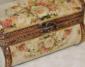 Treasure Chest Box Oriental Camphor Wooden  Decopauge  Floral Design