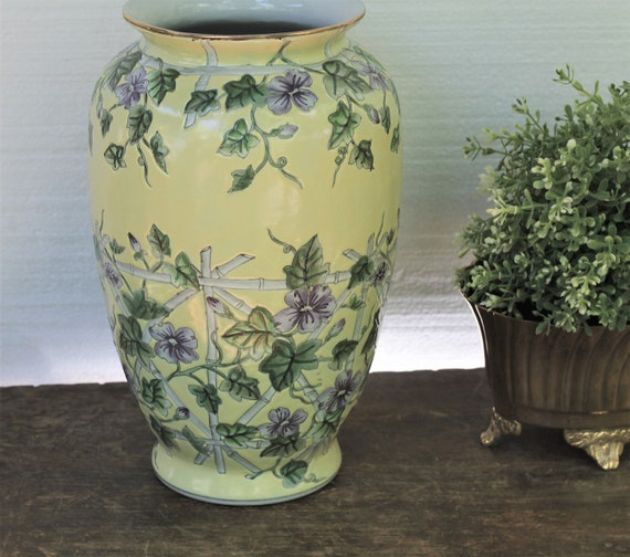 Vintage Ceramic Hand Painted Flower Vase Ginger Jar Vintage Etsy