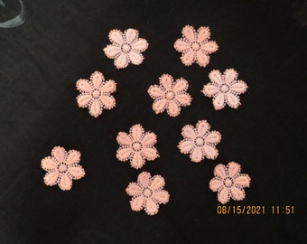 10 Lace hand dyed flowers