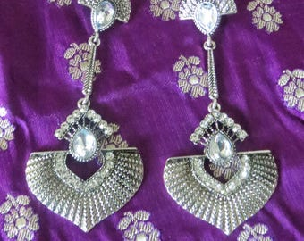 Statement Earrings, drop earrings, vintage inspired, silvertone with crystal embellishments
