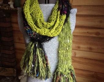 Green Black Multi Color Fringe Long Handmade Crochet Super Scarf Boho 148 x 5 in. new