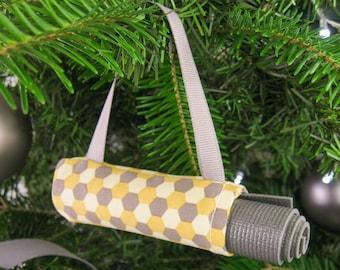 Mini Yoga Ornament. Yellow and Grey Hexagon Christmas Ornament. Small Gifts for Women. Yoga Studio Décor. Ornament Exchange