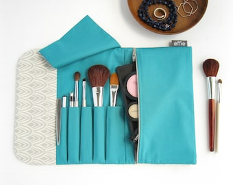 Makeup Travel Case. Simple Makeup Bag. Gray & Teal Travel Make Up Organizer. Womens Travel Gifts. Roll up Cosmetic Brush Bag. Makeup Storage