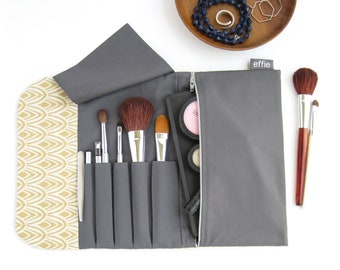 Makeup Travel Case. Simple Makeup Bag. Yellow & Grey Travel Make Up Organizer. Womens Travel Gifts. Roll Cosmetic Brush Bag. Makeup Storage