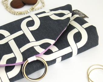 Travel jewelry case, navy links jewelry organizer. Bridesmaid gift idea