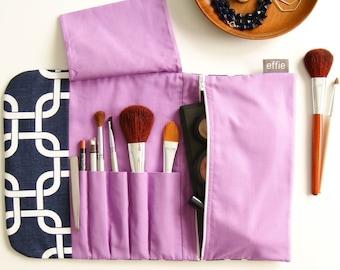 Makeup Travel Bag. Cosmetic Bag. Travel Makeup Organizer. Makeup Gift Idea. Travel Organizer. Navy Make Up Bag. Makeup and Brush Organizer