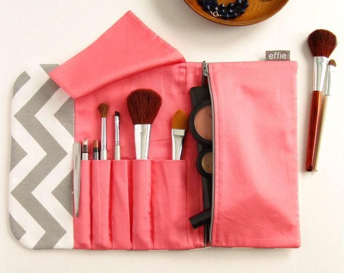 Gift for Women. Travel Makeup Organizer. Chevron Makeup Bag Brush Roll. Makeup Brush Bag. Modern Cosmetic Bag. Makeup Case Travel Essentials