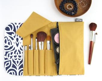 Travel Cosmetic Bag. Makeup Brush Holder. Compact Makeup Case. Brush Roll Makeup Bag. Navy Makeup Organizer. Bridesmaid Travel Accessories
