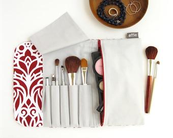 Travel Cosmetic Bag. Makeup Brush Holder. Compact Makeup Case. Brush Roll Makeup Bag. Red Makeup Organizer. Bridesmaid Travel Accessories