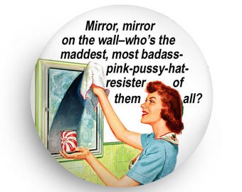 Pink Hat Feminist Funny Retro Magnet or Pinback