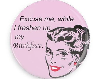 Funny Bitchface Magnet for Girlfriend, Coworker,  Retro Funky Magnet