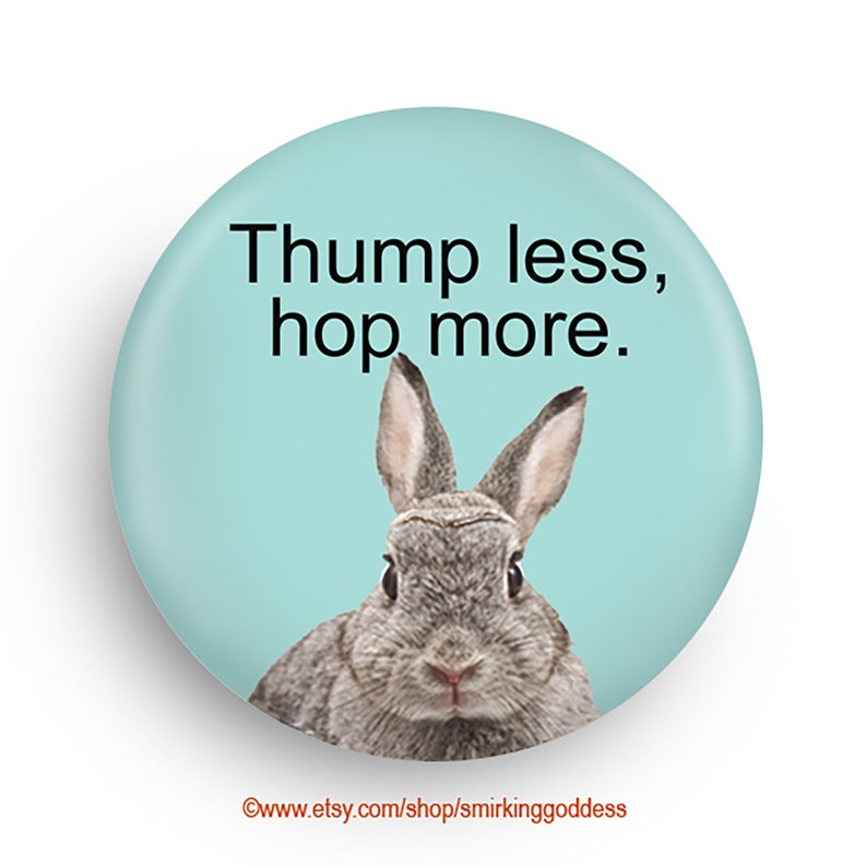 Funny Rabbit Quote Magnet or Pinback Great Easter Basket image 0