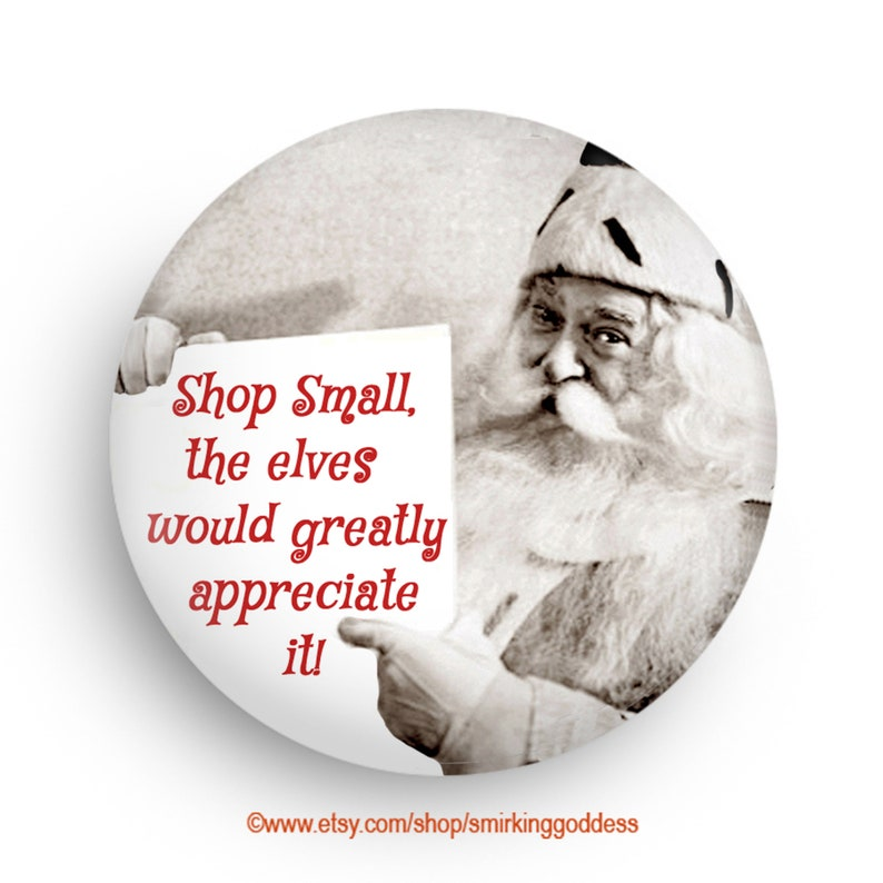 Fun Shop Small Santa Magnet-Pinback or Fridge Magnet image 0