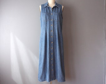 vintage 90s dress / denim shirtdress / sleeveless collar dress / medium / d35