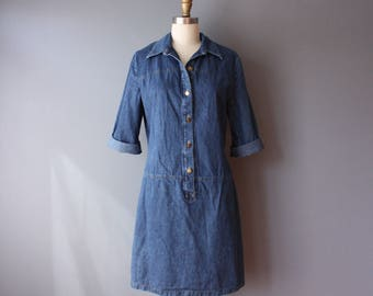 vintage 80s denim dress / denim dropped waist shirtdress / button front collar dress / sz 10 / D14