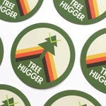 "Treehugger 2"" vinyl sticker, forest explorer sticker, laptop stickers, phone stickers, activist sticker, cute stickers, bumper sticker"
