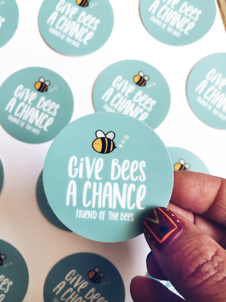 Give Bees a Chance 2 vinyl decal friend of the bees image 0