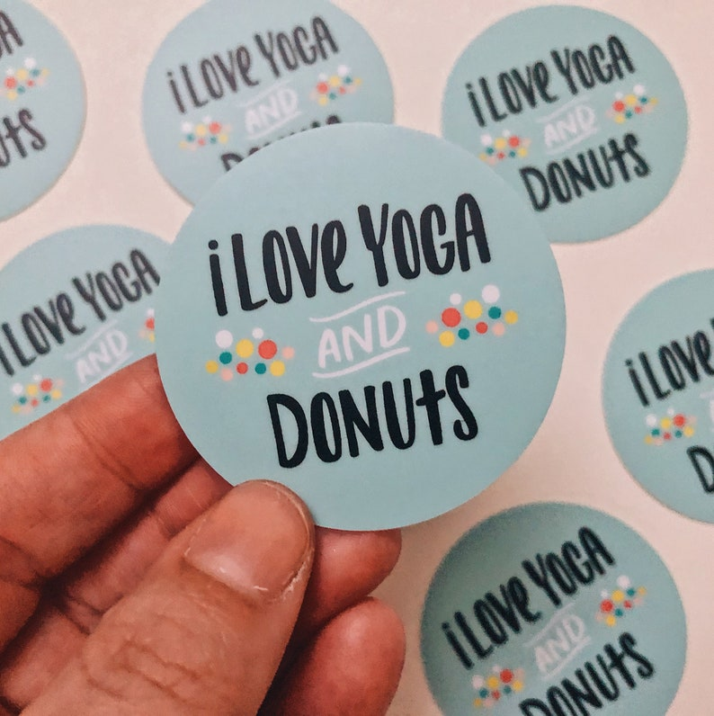 Yoga and Donuts vinyl sticker water bottle sticker cute yoga image 0