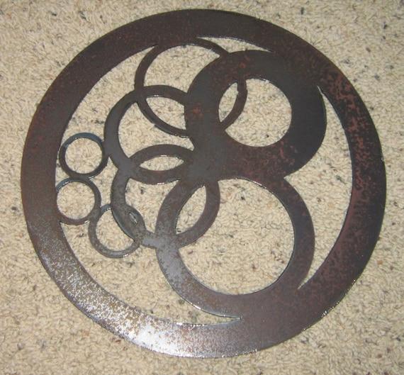Circles in Circle-Metal Wall Art-Geometric Home | Etsy
