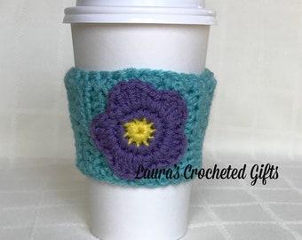 Coffee Cup Cozy, Crochet Coffee Sleeve, Reusable Blue Coffee Cozy, Purple Flower Coffee Cozy, Handmade Crochet Coffee Cozy, Blue Coffee Cozy
