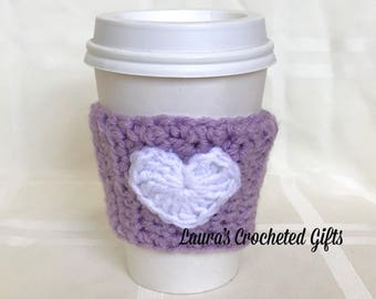 Coffee Cup Cozy, Crochet Coffee Sleeve, Reusable Purple Coffee Cozy, White Heart Coffee Cozy, Handmade Crochet Coffee Cozy,Heart Coffee Cozy