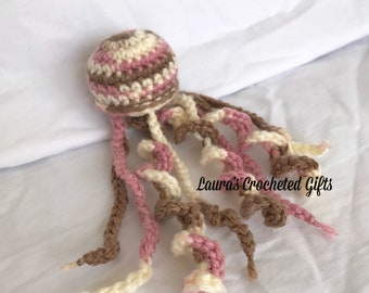 Crochet Stuffed Jellyfish, Mini Stuffed Jellyfish, Pink Brown White Stuffed Jellyfish, Handmade Crochet Plush Toy, Crochet Stuffed Animal
