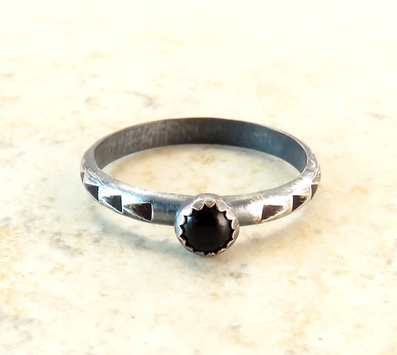Black Onyx Stackable Ring in Oxidized Silver - Hammered Silver Arrow Band -  Black Stone Ring - Boho Tribal Ring Sizes 6 5 and 7 25