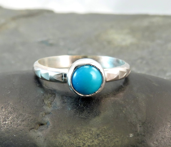Turquoise Ring Band - Genuine Sleeping Beauty Turquoise Hammered Silver  Ring - Silver Arrow Band Size 7 5 - Robins Egg Blue Gift for Her