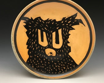 """Owl - Luncheon Plate -  Titanium Yellow -Soda Fired Stoneware - Approx. 9"""" diameter - Ron Philbeck (57)"""