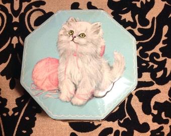 Vintage Kitten tin keepsake Box