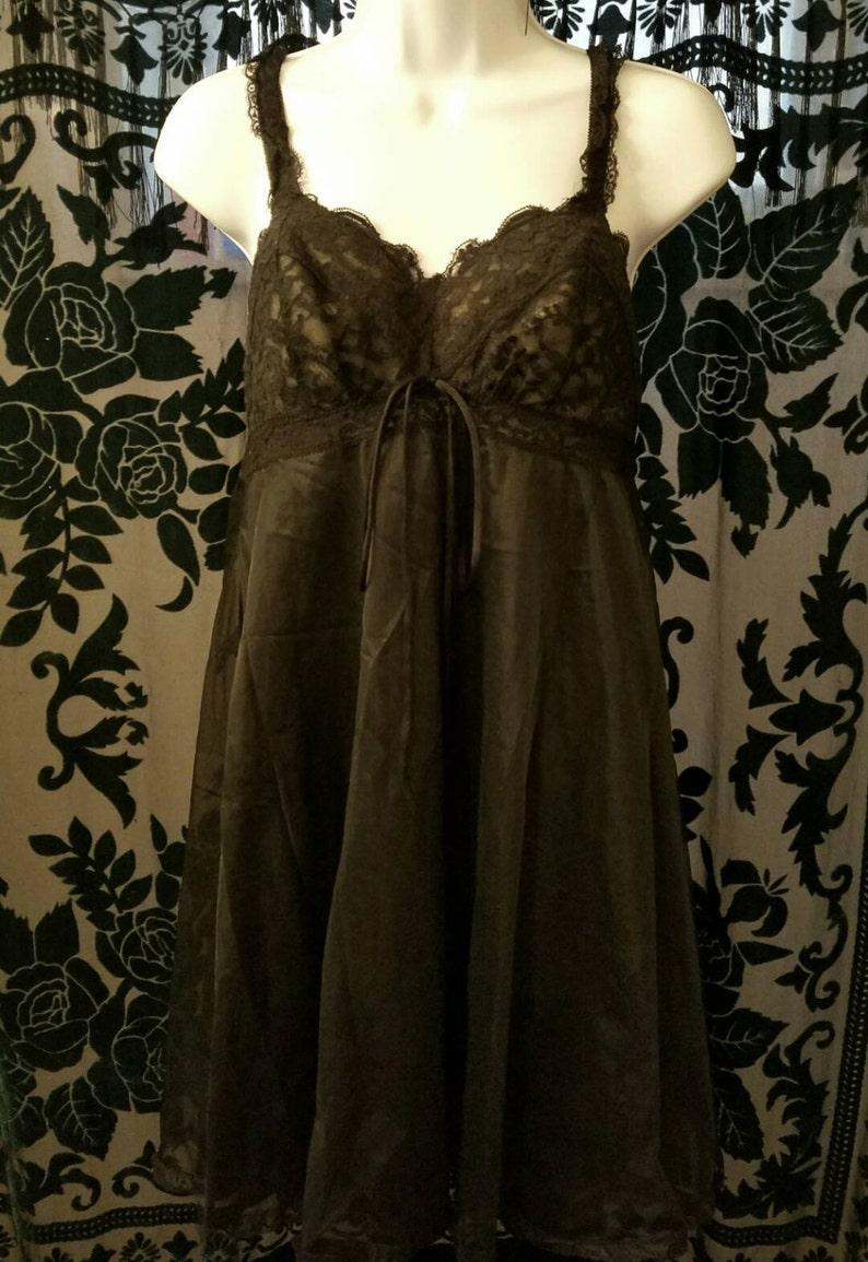 Vintage 1950/'s Black Lace Babydoll size 36