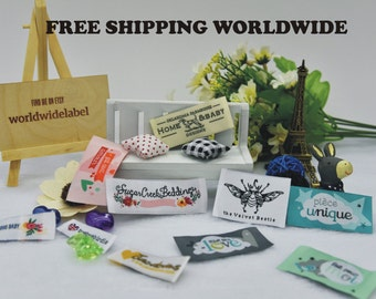 500 pcs Custom Woven labels Artwork logo Clothing Labels Personalized tags sew in fabric labels