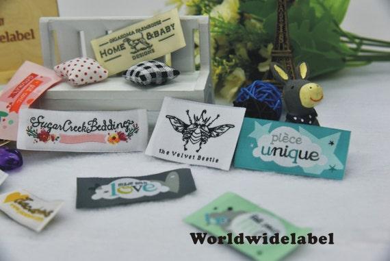 400 PCS Custom Artwork logo fabric sew in clothing crochet woven tags  knitting labels