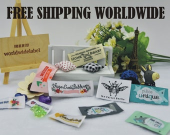 600pcs Custom Premium Damask Clothing labels Artwork woven labels in 50D The highest density fabrics Top Quality Free 5-7 days Express mail