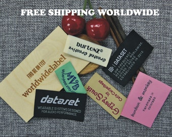 200 pcs Custom Woven labels Text Only Clothing Labels Personalized tags sew in fabric labels