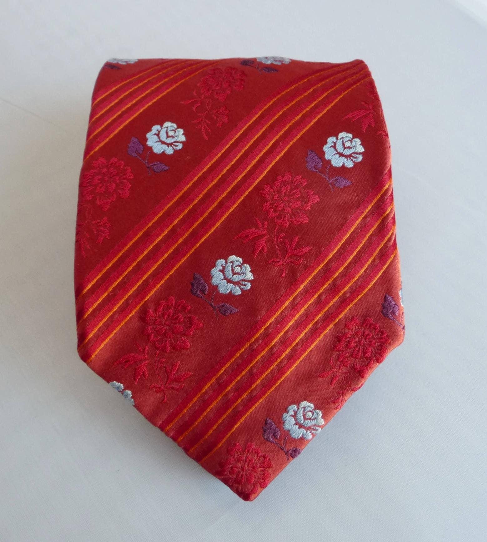 e1dcac7b Ermenegildo Zegna Tie- Mens Silk Tie- Rusty Orange Red- Striped Floral Tie-  Woven Design- Stripes- Blue Flowers- Luxury Brand- Italy- 3 3/4