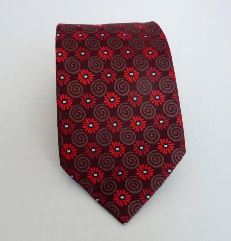 da8f7d10 Ermenegildo Zegna Tie- Mens Silk Tie- Dark Maroon Brown Red- Woven Flower  Spiral Design- Floral Design - Luxury Brand- Made in Italy- 3 3/4
