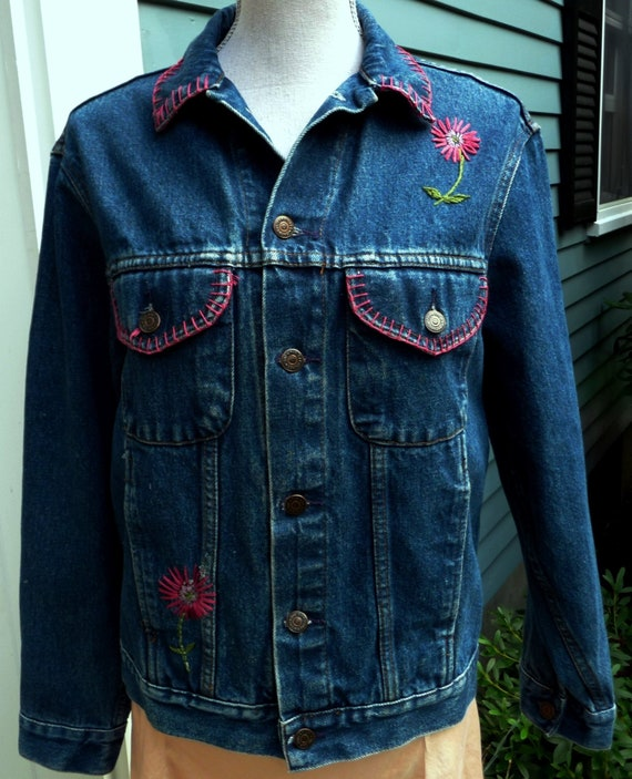 Vintage Gap Jean Jacket Embroidered Women S Dark Blue Etsy