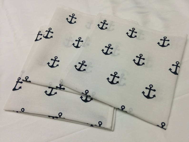 Anchor Napkins Set Navy Blue Anchors  on White cotton image 0