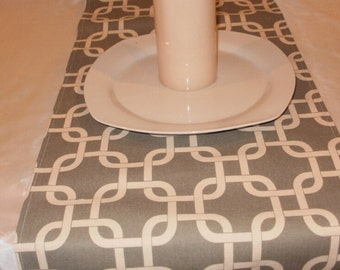 "MODERN RUNNER 72"" White on Grey Gray Cage Chain Print Table Runner-"