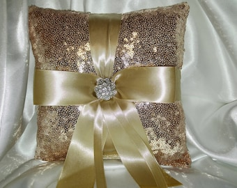 SEQUIN RINGBEARER PILLOW- Color of Choice- and/or Flower Girl Basket - Champagne, Gold, Silver,  Wedding Bridal, with Ribbon Color Choice
