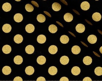 BLACK with GOLD DOT Linens-Table Runner or Napkins -or Placemats -Centerpiece Rounds, Squares , Gold metallic polka dots on black