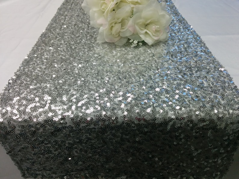 SEQUINS RUNNER COLORS Sizes Sequin Table Runner Silver image 0