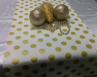 GOLD DOT LINENS-on white- Table Runner or Napkins -or Placemats -Centerpiece Rounds, Squares , Gold metallic polka dots on white or black