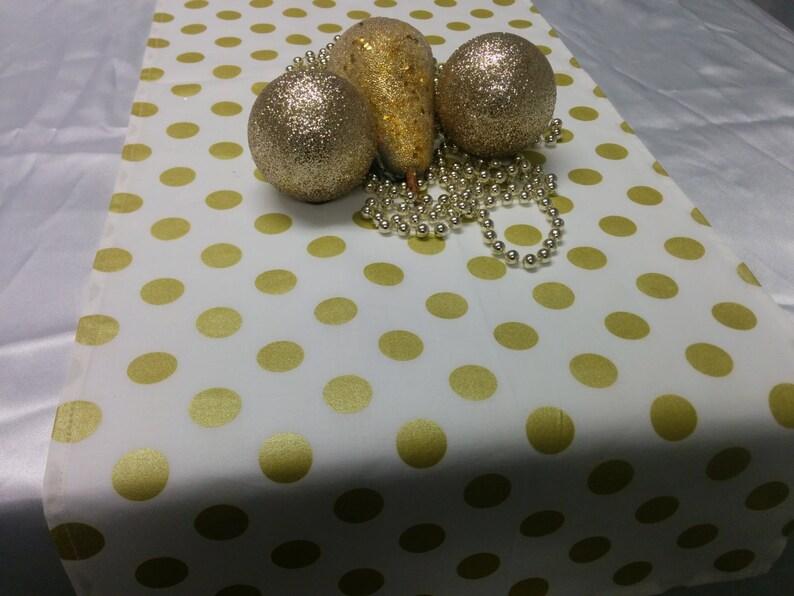 GOLD DOT LINENS-on white Table Runner or Napkins or image 0