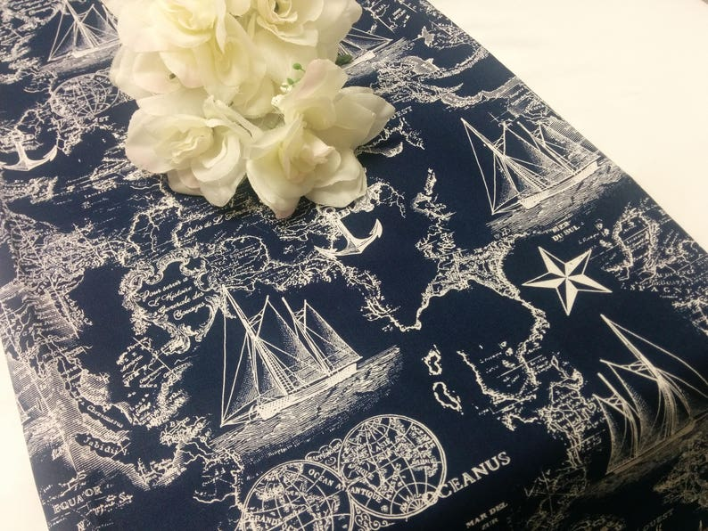 NAVY NAUTICAL MAPS Table Runner or Napkin or Placemat  blue image 0