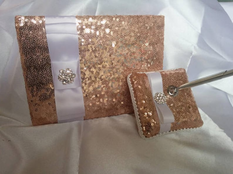All colors SEQUIN GUEST BOOK and/or  Pen and Base  Wedding image 0