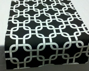 MODERN LINK RUNNER table runner modern black and White Geometric Cage Chain Print Table Runner Wedding Bridal HOme
