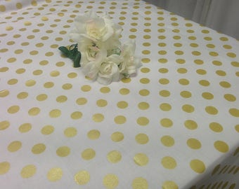 GOLD DOT TABLECLOTH - colors, white, black, pink, red, Black white, striped, with Gold, metallic,  polka dot tablecloth, wedding